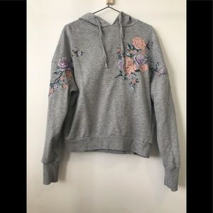 H&M flower embroidered hoodie